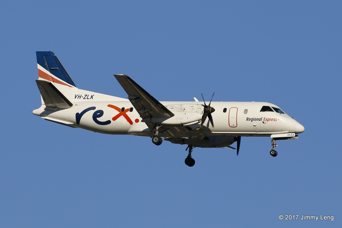 Rex Regional Express Saab 340B VH-ZLK (MSN 340B-381) on short finals runway 03 at 0726hrs Sat 18 Feb 2017, inbound from Albany. © Jimmy Leng