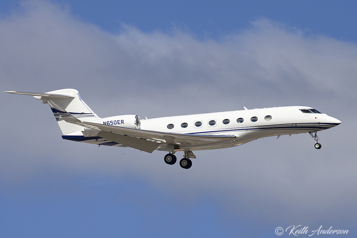 N650ER Gulfstream G650ER (MSN 6210) owned by Gulfstream Aerospace Corp at Perth Airport – 21 February 2017. This G650ER demonstrator on finals for runway 24 at 2:50 pm. Built in 2016. Another demonstrator G650ER, also registered N650ER (MSN 6084), visited Perth in October 2014. Photo © Keith Anderson (Photographed using Canon camera and lenses)