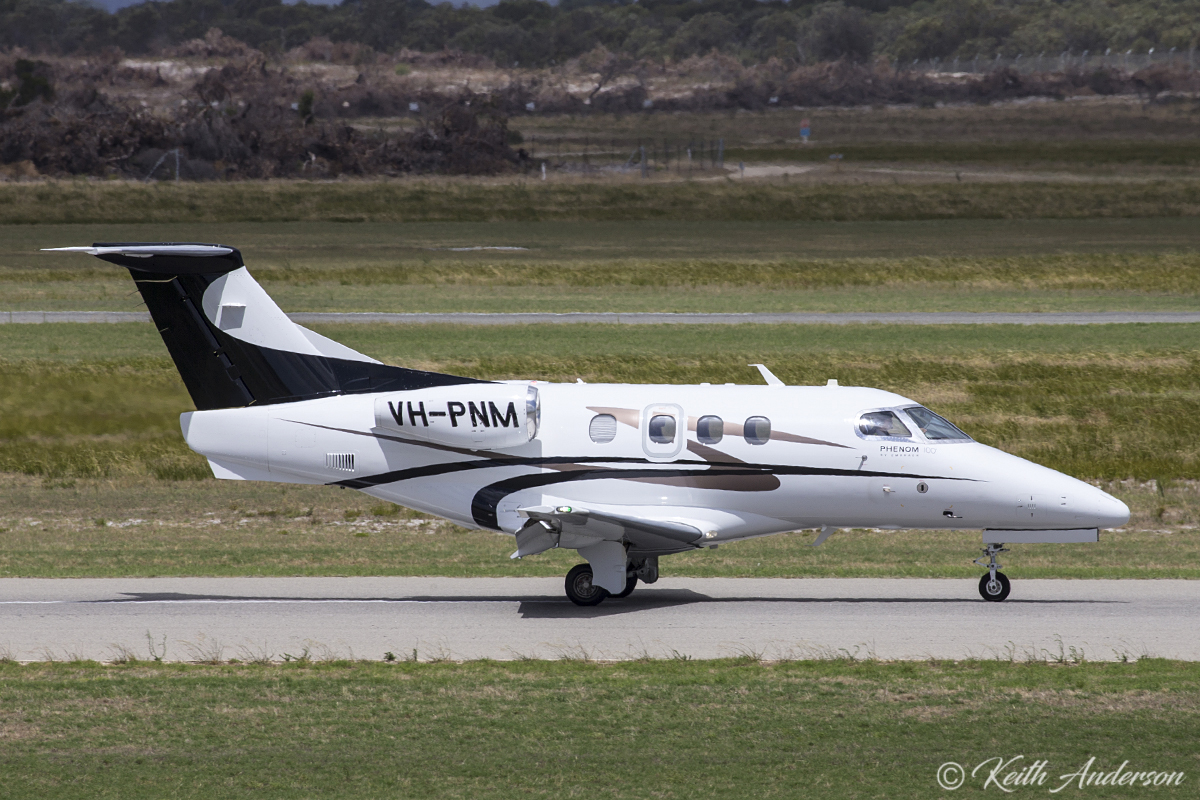 VH-PNM Embraer 500 Phenom 100 (MSN 50000206) of Revesco Aviation (temporarily operating for China Southern West Australian Flying College) at Jandakot Airport – 21 February 2017.