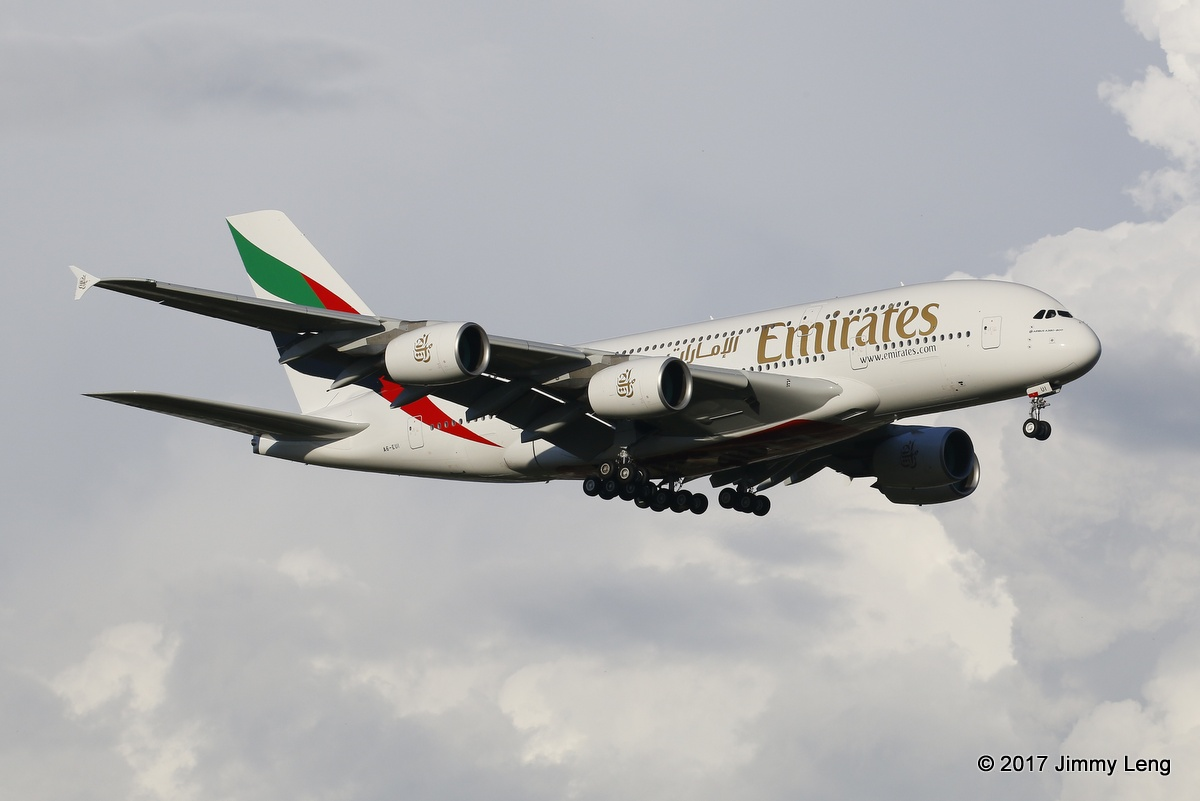 Emirates A6-EUI A380-800 (MSN 221) 1st visit to PER arriving on runway 21 at 1734hrs Wed 1 Mar 2017. The aircraft was delivered to Emirates on 21 Feb 2017 with its first revenue flight flown on 23 Feb 2017 DXB-SYD. © Jimmy Leng