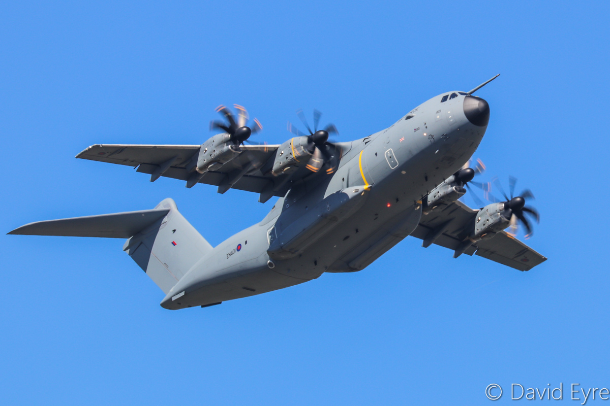 ZM401 Airbus A400M Atlas C1 (MSN 016) of 24/70 Squadron, Royal Air Force at RAAF Base Pearce – Sun 5 March 2017. First visit to Pearce, climbing after take-off from runway 36R at 10.25am using the callsign 'ASCOT 4101', after attending the Avalon Air Show. This is the second of 22 A400M aircraft on order for the Royal Air Force, to replace the Lockheed-Martin C-130J Hercules and it was delivered in December 2016, ex EC-406, A4M016. Photo © David Eyre