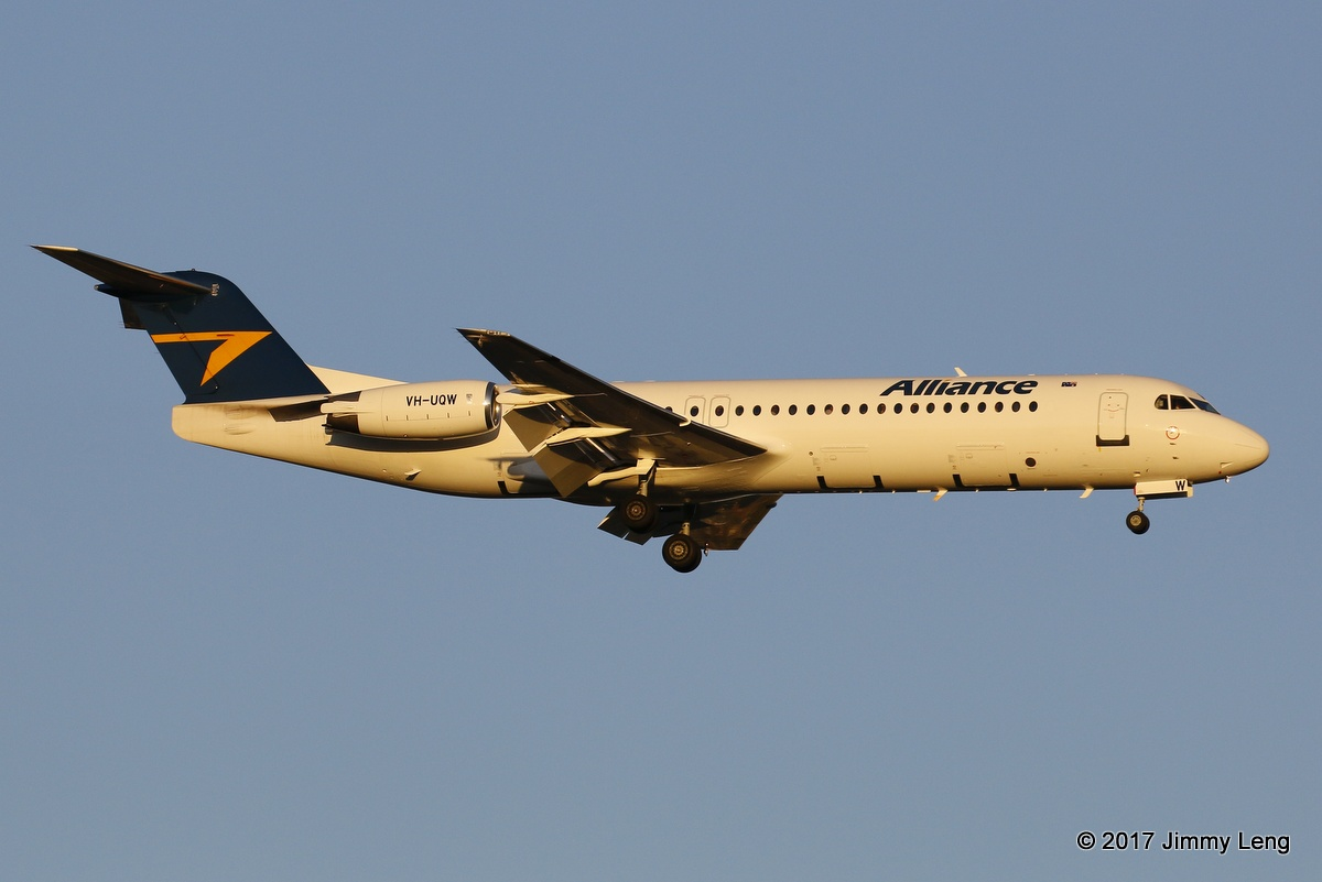 Alliance Fokker100 (MSN 11367) arriving into PER 1816hrs Thu 9 Mar 2017. First day of WA operations since entering service on 18 Jan 2017 © Jimmy Leng