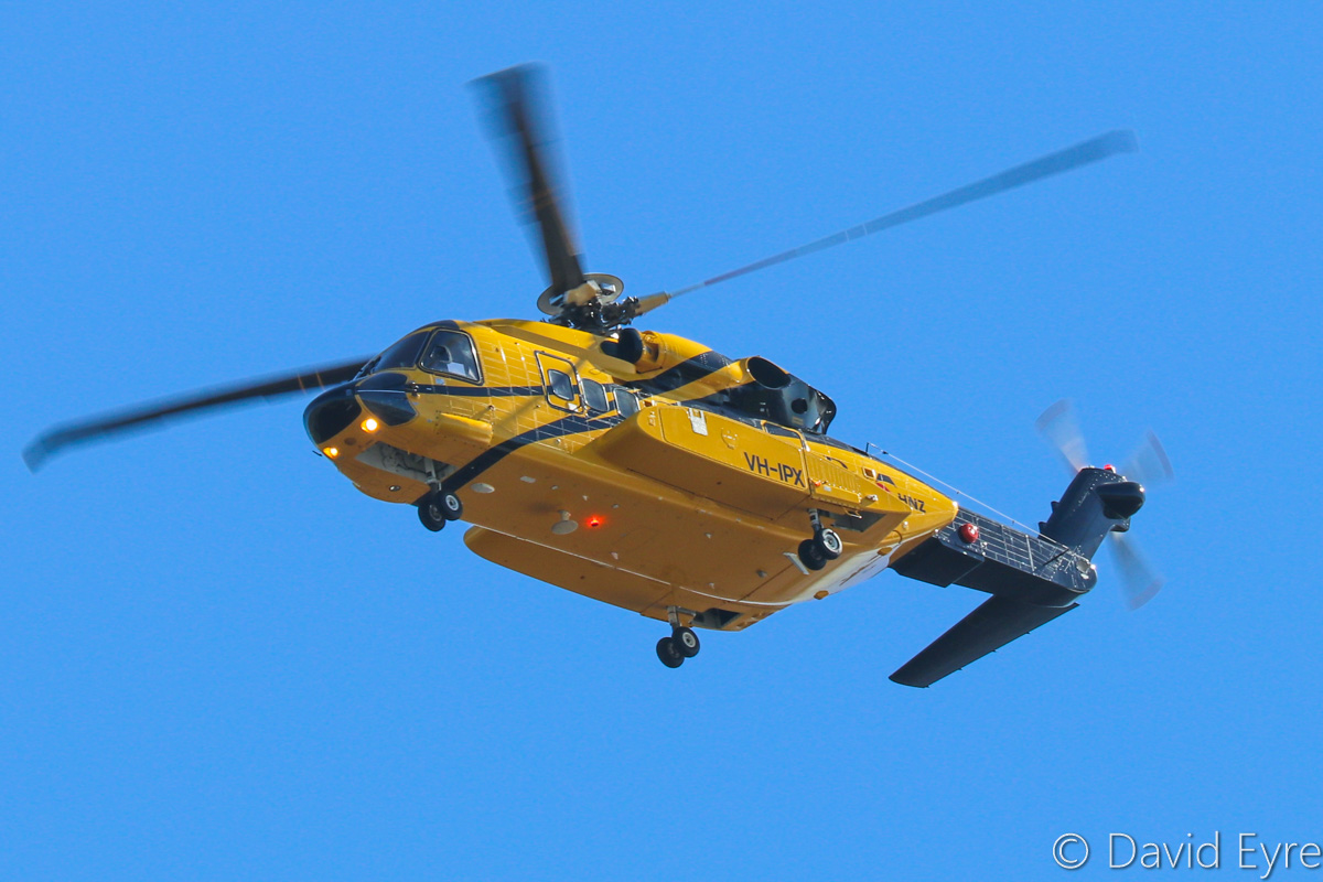 VH-IPX Sikorsky S-92A Helibus (MSN 920116, ex N924R) of HNZ Group/PHI over the Swan River, Perth - Thu 16 March 2017. On a test flight after being reassembled following its arrival by sea on 31 December 2016. It flew from Perth Airport over North Perth and Fremantle, then back up the Swan River to Perth Airport. It departed the next day to Carnarvon, then Karratha and Broome on 19 March. The registration VH-IPX stands for INPEX, the company it is being operated for. Photo © David Eyre