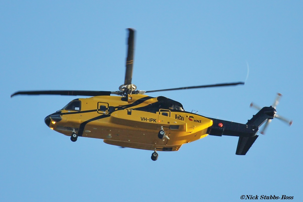 VH-IPK Sikorsky S-92A Helibus (MSN 920104) of HNZ Australia/PHI over Herdsman - Mon 27 March 2017. Registered a few days ago on 24 March 2017. On a test flight after being reassembled following its arrival by sea on 31 December 2016. It flew west from Perth Airport over the northern suburbs of Perth and just off the coast before returning up the Swan River to Perth Airport. It will soon depart to its new base at Broome. The registration VH-IPK stands for INPEX, the company it is being operated for. Ex N923PH, N923H. Photo © Nick Stubbs-Ross