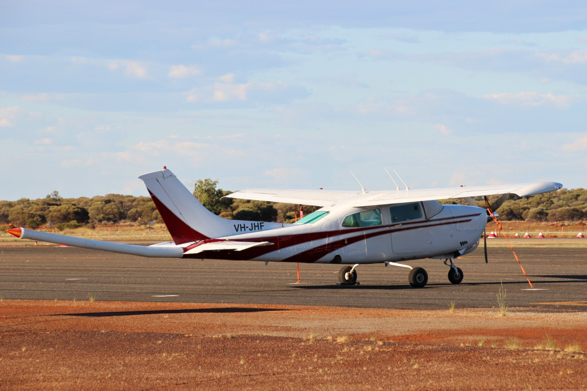 VH-JHF Cessna 210N Centurion (MSN 21063845) owned by Thomson Aviation Pty Ltd of Griffith East, NSW, at Meekatharra Airport - Thu 9 March 2017. Modified for geophysical survey work with a magnetometer 'stinger' tailboom. Built in 1980, ex VH-LJE, ZK-EQD, C-GGKP, (YV-1885P), (N6254C). Photo © Geoff Carberry