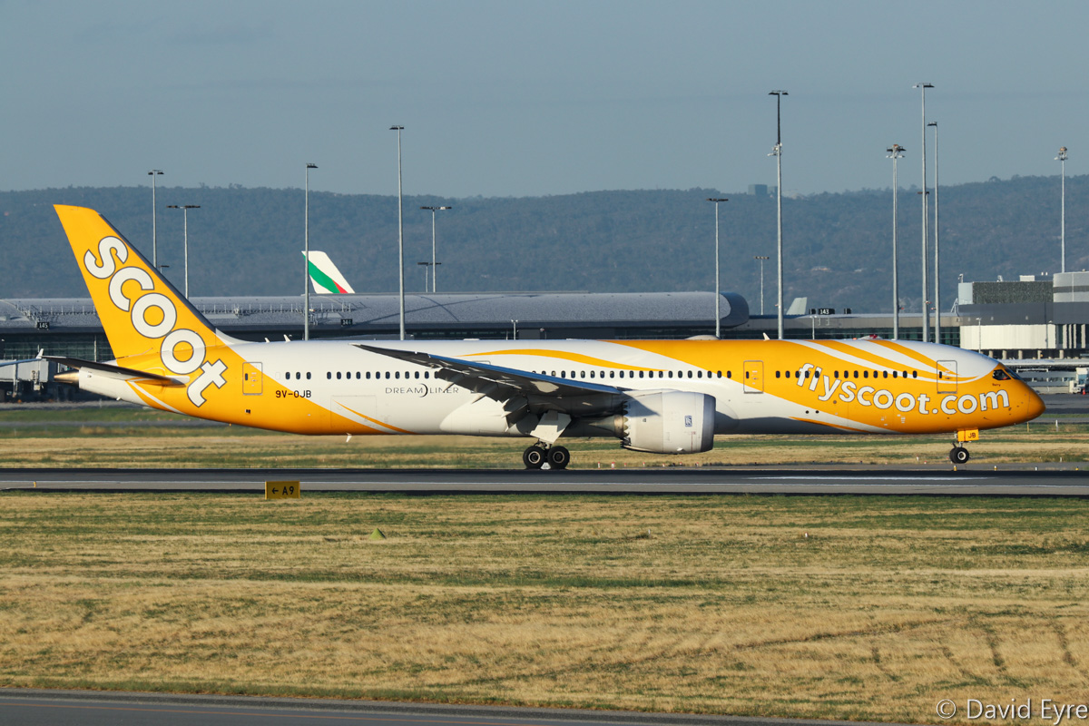 9V-OJB Boeing 787-9 Dreamliner (MSN 37113/272) of Scoot, named 'Barry', at Perth Airport - Thu 16 February 2017. Flight TZ8 from Singapore, taxying off runway 21 after landing at 6:12pm. Photo © David Eyre