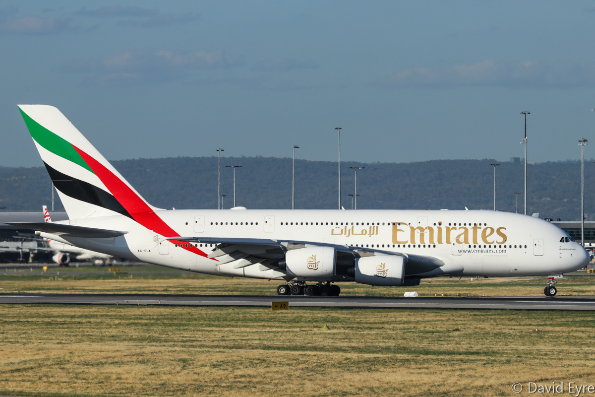 A6-EUK Airbus A380-861 (MSN 223) of Emirates at Perth Airport – Thu 16 February 2017. Flight EK420 from Dubai, taxying off runway 21 after landing at 5:35pm. Photo © David Eyre