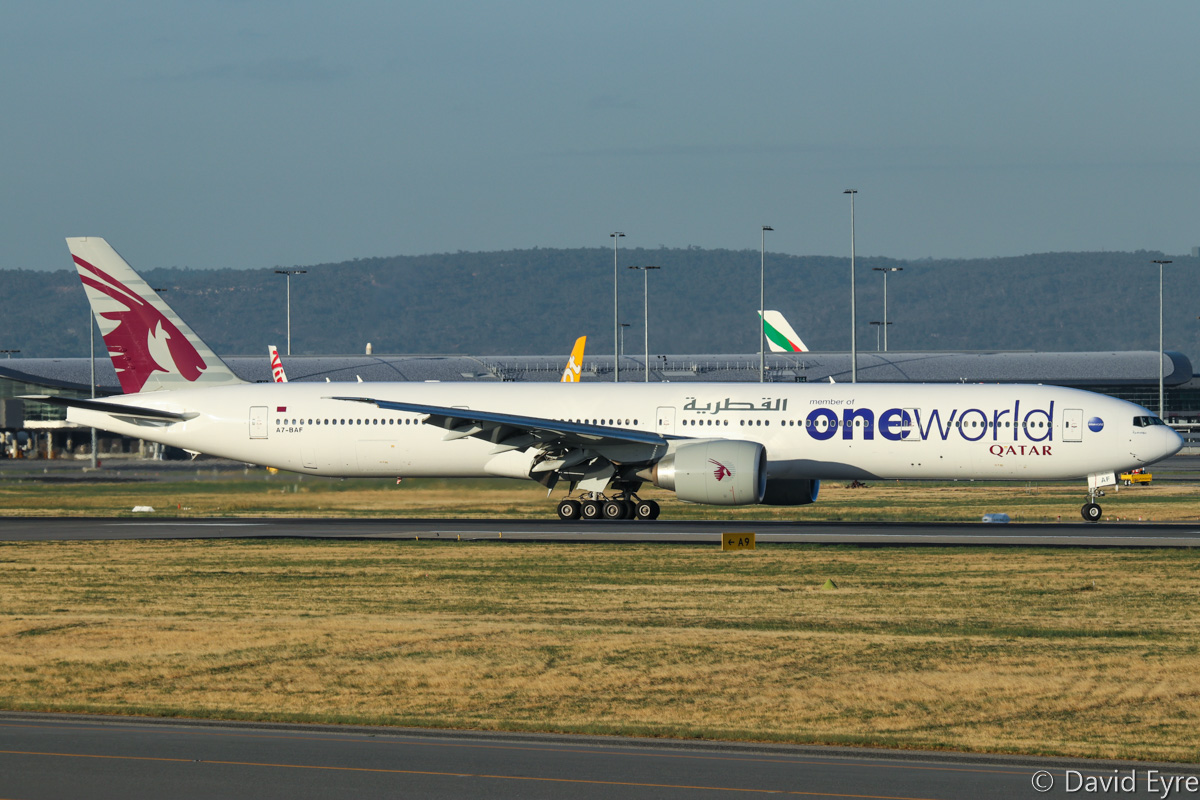 "A7-BAF Boeing 777-3DZER (MSN 37661/815) of Qatar Airways, named ""Bu Samra"", in Oneworld livery, at Perth Airport - Thu 16 February 2017. QR900 from Doha exiting runway 21 after landing at 6.14pm. Photo © David Eyre"