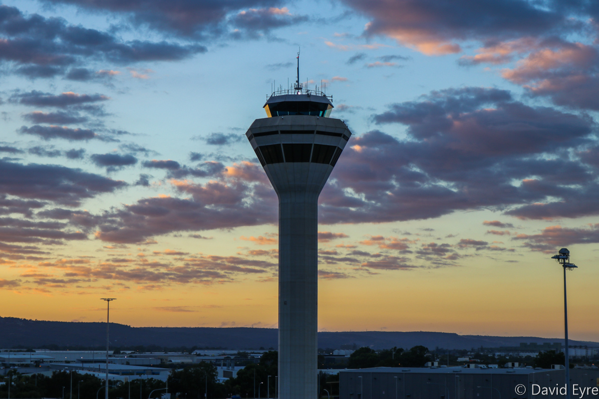 Control Tower at Perth Airport - Thu 16 February 2017. Pre-dawn photo of the tower. Photo © David Eyre