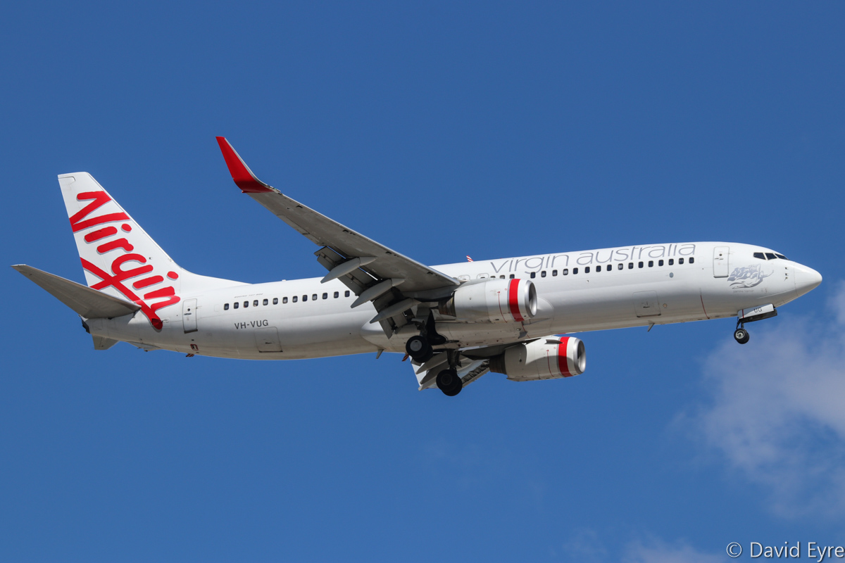 VH-VUG Boeing 737-8FE (MSN 34438/1948), named 'Jasmine Tasman', of Virgin Australia, at Perth Airport - Thu 16 February 2017. VA719 from Adelaide, on approach to runway 24 at 3:25pm. Photo © David Eyre