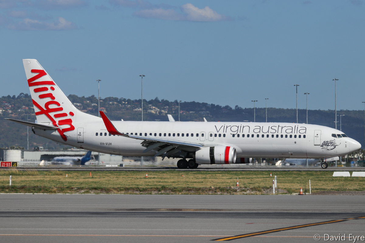 VH-VUH Boeing 737-8FE (MSN 34440/2003) named 'Lady Rebecca', of Virgin Australia, at Perth Airport - Thu 16 February 2017. Flight VA466 from Brisbane, slowing down after landing on runway 24 at 4:12pm. Photo © David Eyre