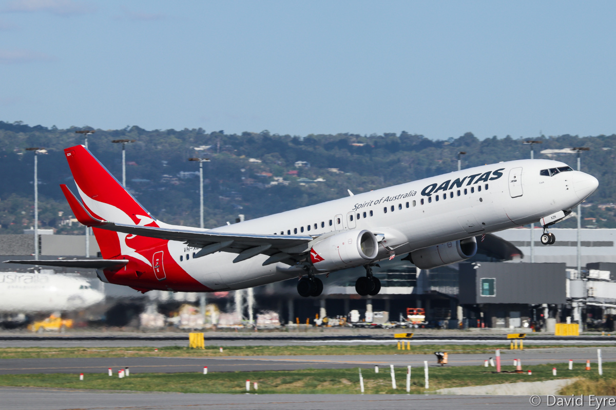VH-XZK Boeing 737-838 (MSN 39366/4705) of Qantas, named 'Cook', at Perth Airport – Thu 16 February 2017. QF594 to Brisbane, taking off from runway 24 at 4:50pm, as runway 21 was closed for installation of Category III lighting. Photo © David Eyre