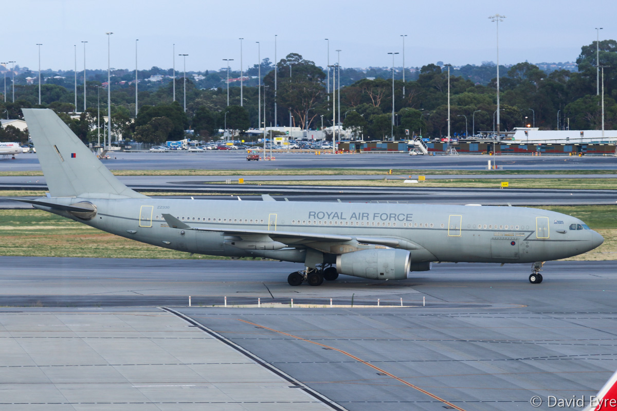 ZZ330 Airbus Voyager KC2 (A330-243 MRTT) (MSN 1046) of 10 Squadron, Royal Air Force, at Perth Airport - Thu 16 February 2017. First visit to Perth. Taxying in at 6:28am from Nairobi, Kenya as ASCOT 2728. It departed 2:59am on Friday 17 February 2017, to Diego Garcia as ASCOT 2729. The aircraft is based at RAF Brize Norton in the UK. The RAF operates two versions - the Voyager KC2 is a two-point tanker, equipped with a Flight Refuelling Limited Mk32B 900E pod under each wing - as the A330 shares the same wing as the four-engine A340, there is a pre-strengthened location available for mounting the wing refuelling pods. The Voyager KC3 is a three-point tanker with an additional centreline hose for larger 'receiver' aircraft. The fuel is carried within the existing wing and fuselage tanks. The cabin seats up to 291 personnel, and the underfloor cargo hold can carry freight on pallets. Photo © David Eyre