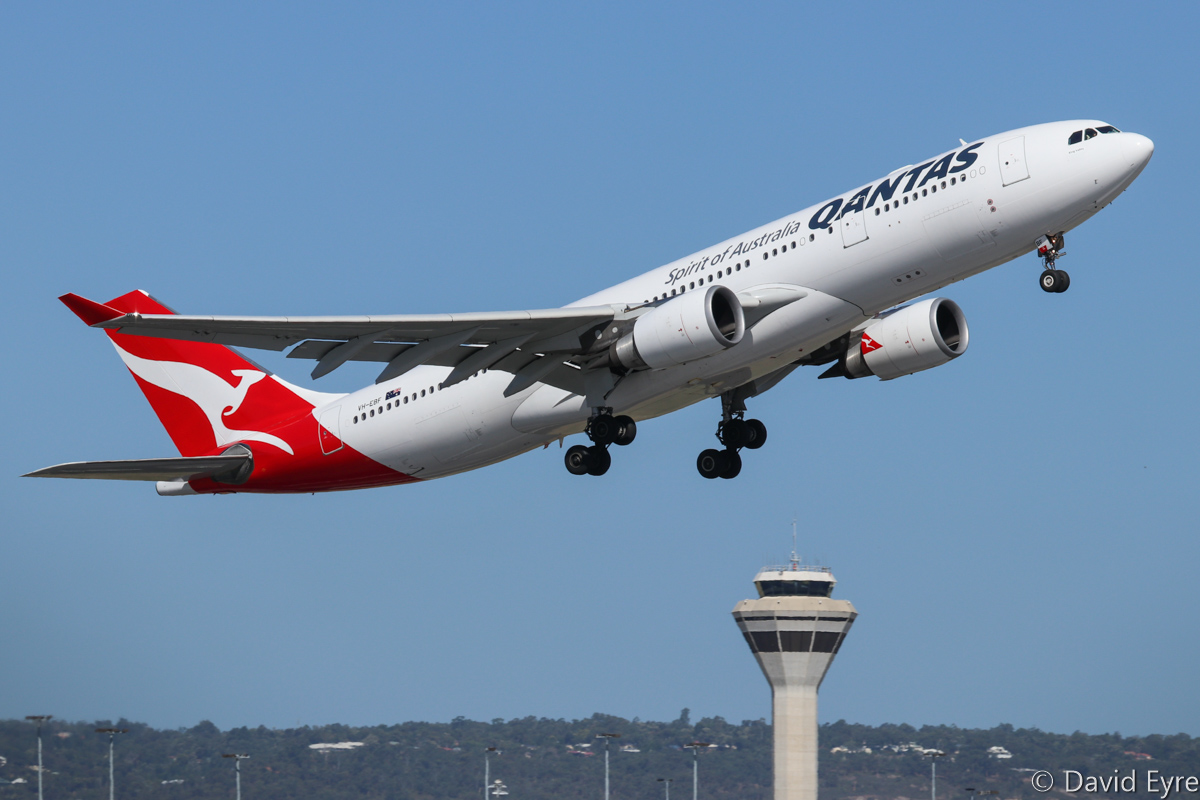 VH-EBF Airbus A330-202 (MSN 853) of Qantas, named 'King Valley', at Perth Airport – Wed 22 February 2017. QF566 to Sydney, taking off from runway 24 at 3:31pm. Photo © David Eyre