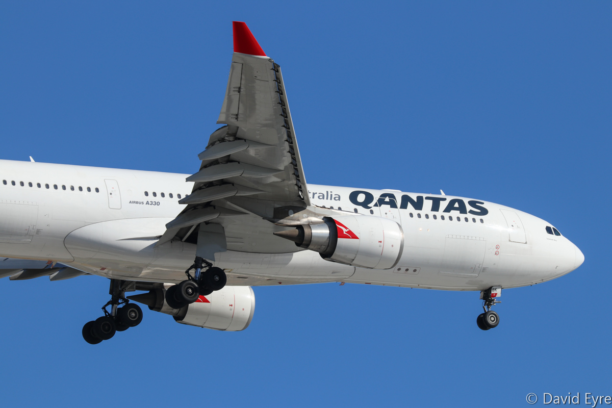 VH-EBK Airbus A330-202 (MSN 945) of Qantas, named 'Savannah Way' at Perth Airport - Wed 22 February 2017. QF777 from Melbourne, on approach to runway 24 at 4:32pm. Photo © David Eyre