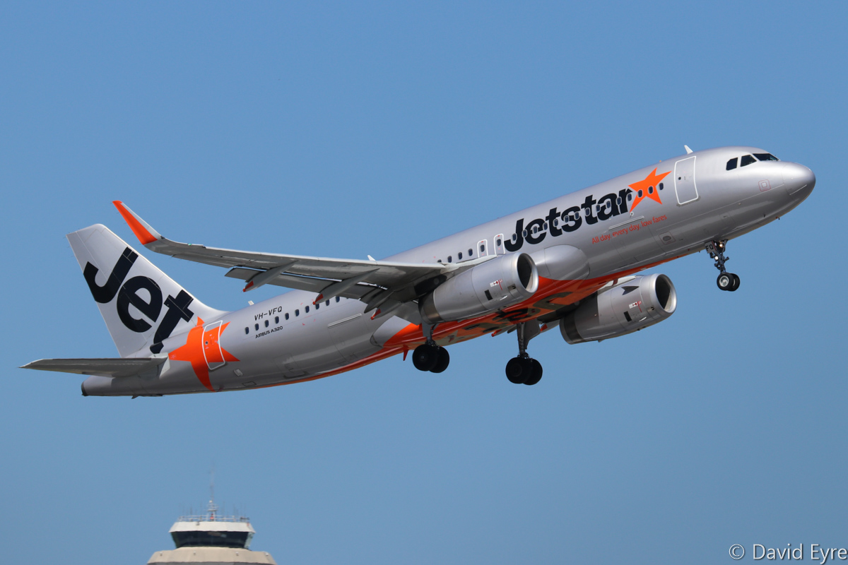VH-VFQ Airbus A320-232 (MSN 5780) of Jetstar, at Perth Airport – Wed 22 February 2017. Taking off from runway 24 at 2:06pm as JQ106 to Denpasar (Bali). Photo © David Eyre
