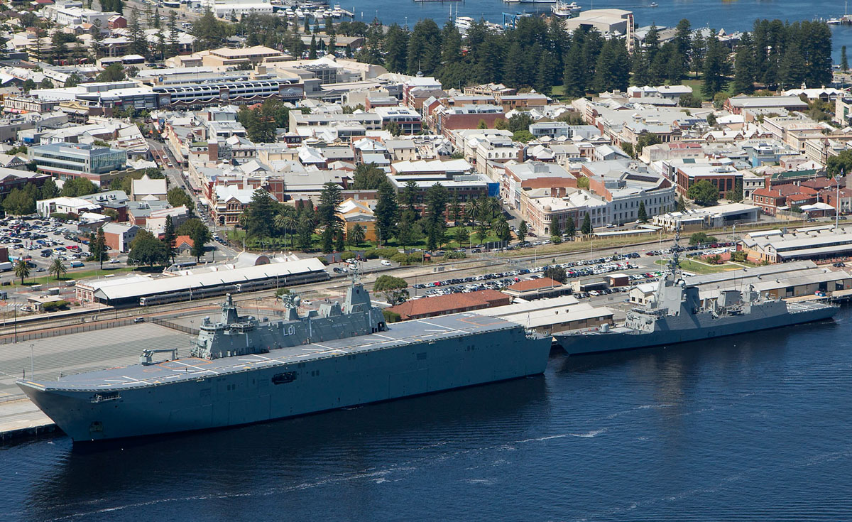HMAS Adelaide (L01), Landing Helicopter Dock (LHD) of the Royal Australian Navy and ESPS Cristobal Colon (F105), Frigate of the Spanish Navy, at Victoria Quay, Fremantle Port - 23 February 2017. Visiting Fremantle for the first time, prior to taking part in Exercise Ocean Explorer 17 off Western Australia. The ships were not open to the public during their visit. Photo © Commonwealth of Australia, CPOIS Damian Pawlenko