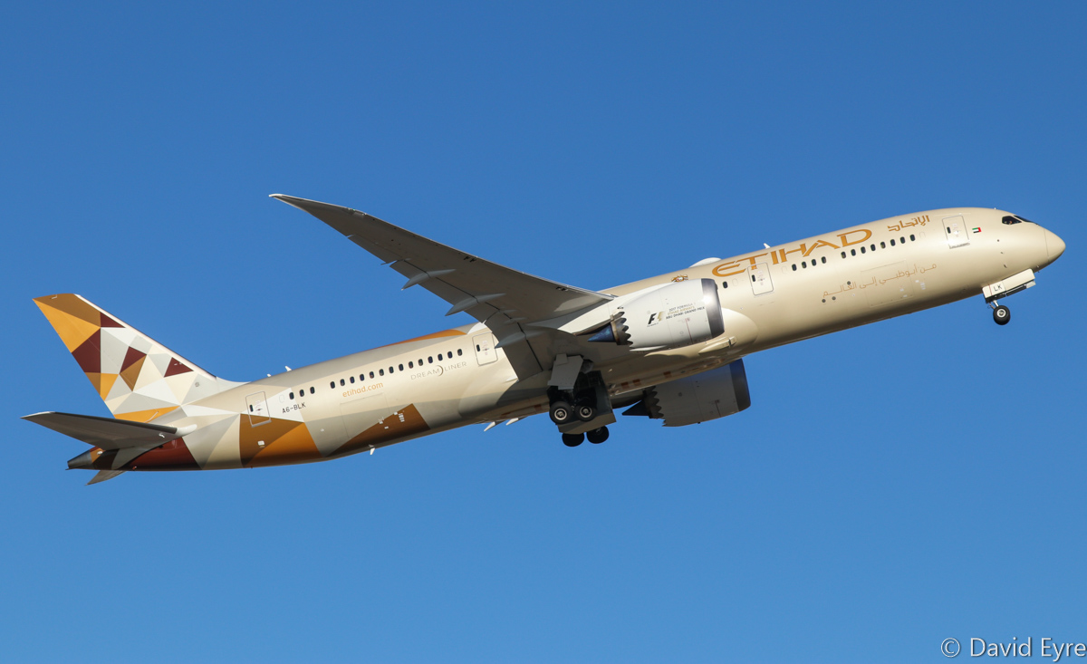 A6-BLK Boeing 787-9 Dreamliner (MSN 39654/520) of Etihad at Perth Airport - Mon 27 February 2017. Flight EY487 to Abu Dhabi, taking off from runway 21 at 5:13pm. Photo © David Eyre