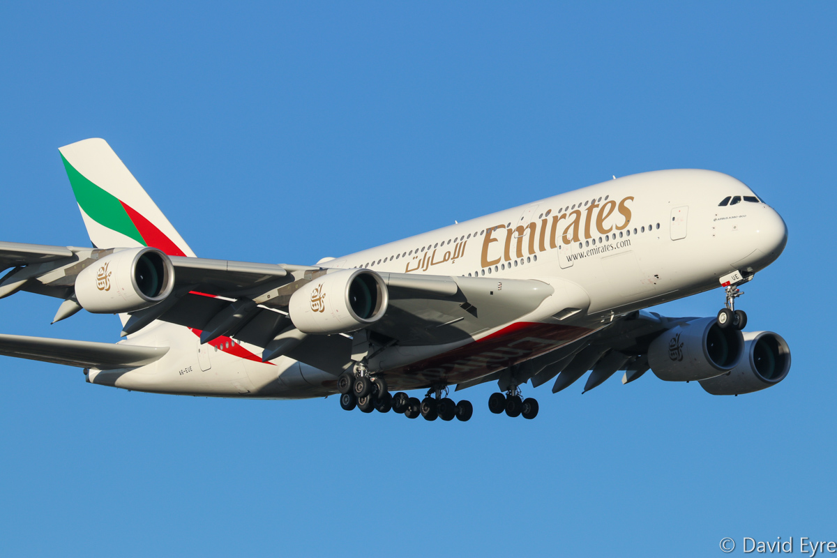 A6-EUE Airbus A380-861 (MSN 217) of Emirates, at Perth Airport - Mon 27 February 2017. EK420 from Dubai, on final approach to runway 21 at 5:56pm. Photo © David Eyre