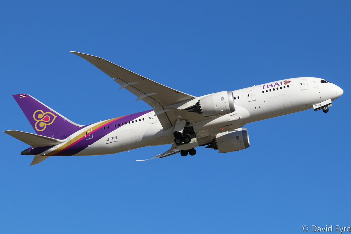 HS-TQE Boeing 787-8 Dreamliner (MSN 38757/287) of Thai Airways, named 'Kosum Phisai' at Perth Airport – Mon 27 February 2017. Taking off from runway 24 at 4:36pm as flight TG482 to Bangkok. Photo © David Eyre