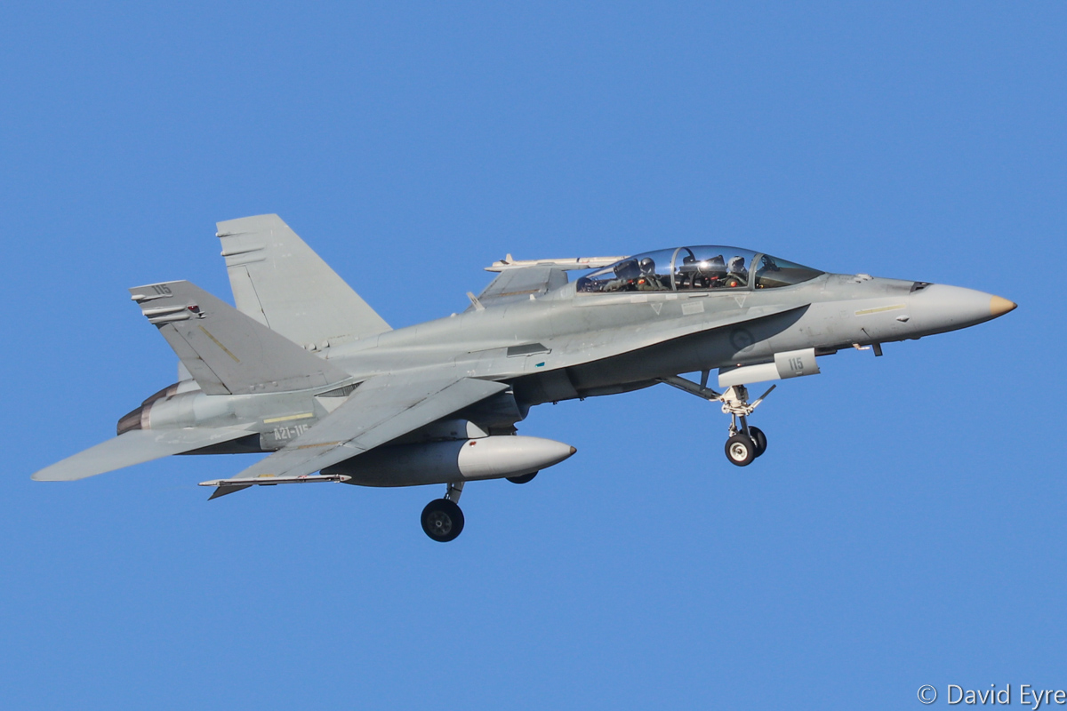 A21-115 McDonnell-Douglas F/A-18B Hornet (MSN 604/ATF-115) of 75 Squadron, RAAF, at RAAF Pearce - Mon 6 March 2017. Wearing no unit markings. Arriving to participate in the international Exercise OCEAN EXPLORER 17. Based at RAAF Tindal, Northern Territory. Originally delivered 28 September 1988. Photo © David Eyre