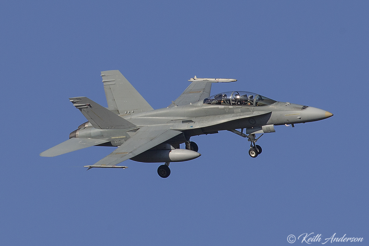 A21-115 McDonnell-Douglas F/A-18B Hornet (MSN 604/ATF-115) of 75 Squadron, RAAF, at RAAF Pearce - Mon 6 March 2017.