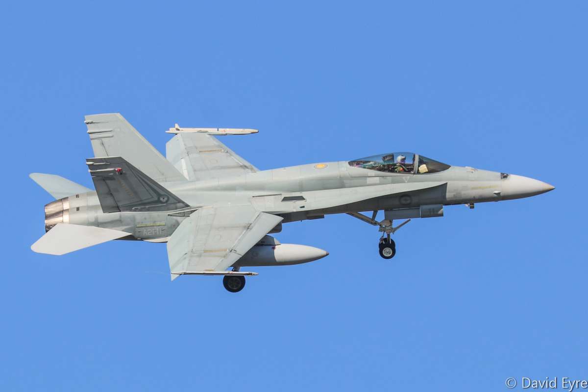 A21-11 McDonnell-Douglas F/A-18A Hornet (MSN 334/AF-11) of 75 Squadron, RAAF, in 2 OCU markings, at RAAF Pearce - Mon 6 March 2017. Arriving to participate in the international Exercise OCEAN EXPLORER 17. Based at RAAF Tindal, Northern Territory. A21-11 was originally delivered 10 October 1986. Photo © David Eyre