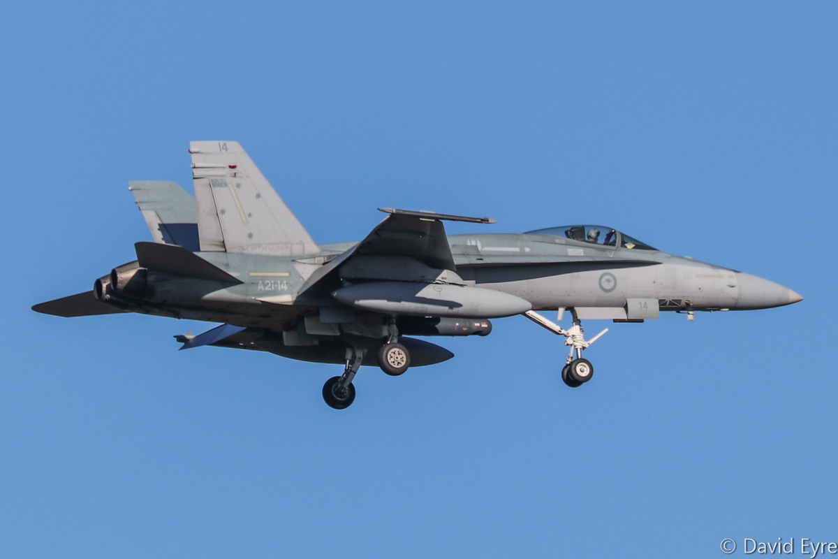 A21-14 McDonnell-Douglas F/A-18A Hornet (MSN 353/AF-14) of 75 Squadron, RAAF, in 3 Squadron markings, at RAAF Pearce - Mon 6 March 2017. Arriving to participate in the international Exercise OCEAN EXPLORER 17. Based at RAAF Tindal, Northern Territory. Photo © David Eyre