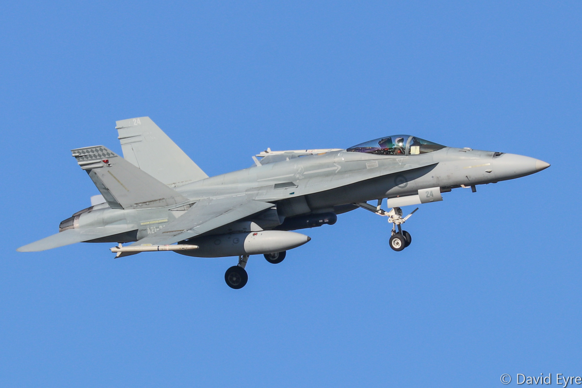 A21-24 McDonnell-Douglas F/A-18A Hornet (MSN 489/AF-24) of 75 Squadron, RAAF, at RAAF Pearce - Mon 6 March 2017. Arriving to participate in the international Exercise OCEAN EXPLORER 17. Based at RAAF Tindal, Northern Territory. Originally delivered 29 February 1988. Photo © David Eyre