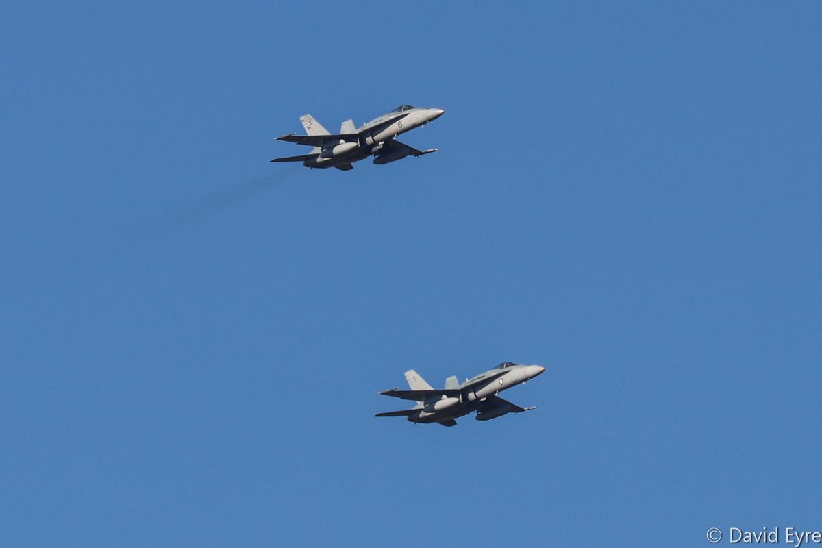 A21-31 (MSN 552/AF-31) and A21-35 (MSN 588/AF-35), McDonnell-Douglas F/A-18A Hornets of 75 Squadron, RAAF at RAAF Pearce - Mon 6 March 2017. Arriving to participate in the international Exercise OCEAN EXPLORER 17. Based at RAAF Tindal, Northern Territory. A21-31 was originally delivered 2 June 1988. A21-35 was delivered 31 July 1988. Photo © David Eyre