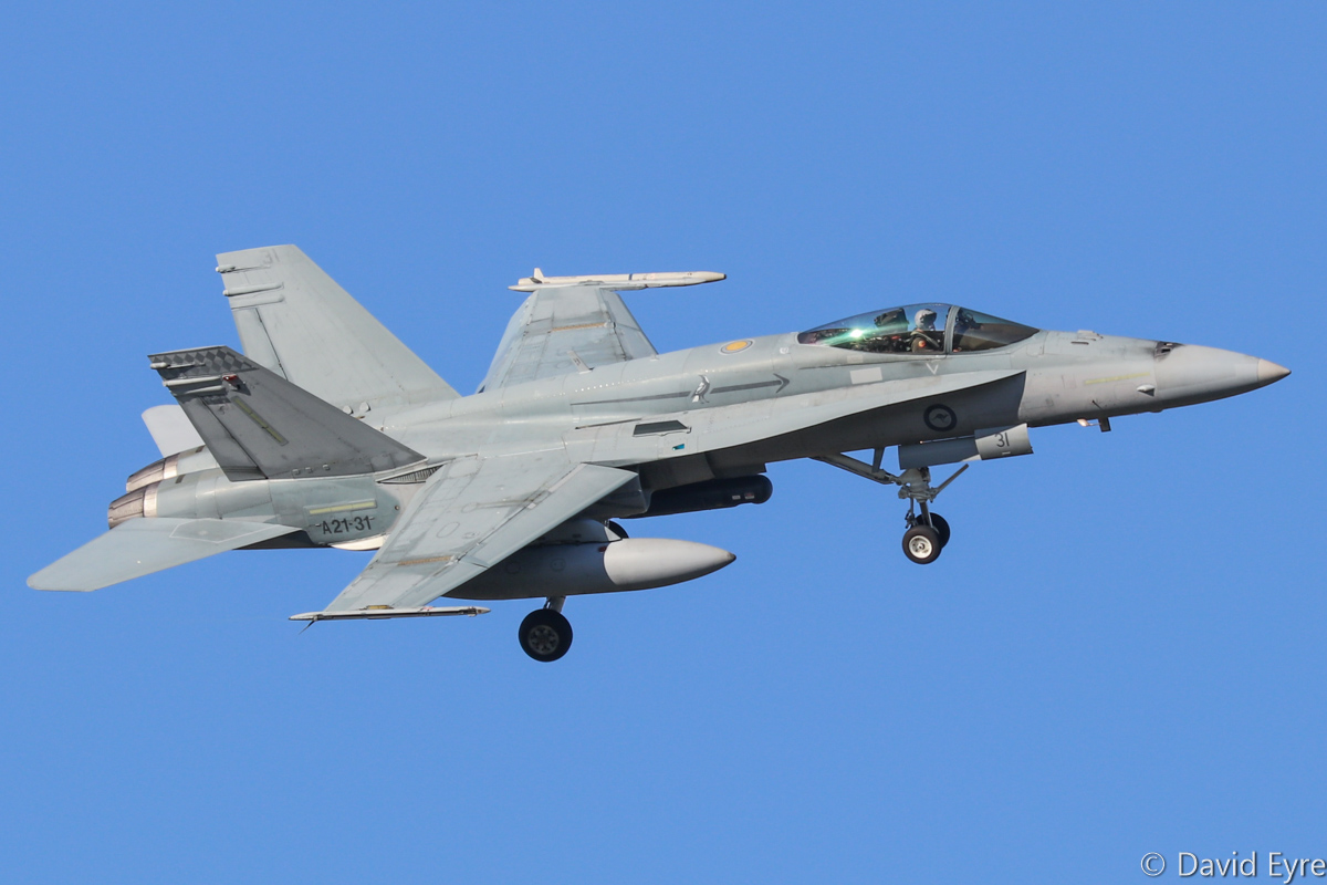 A21-31 McDonnell-Douglas F/A-18A Hornet (MSN 552/AF-31) of 75 Squadron, RAAF at RAAF Pearce - Mon 6 March 2017. Arriving to participate in the international Exercise OCEAN EXPLORER 17. Based at RAAF Tindal, Northern Territory. A21-31 was originally delivered on 2 June 1988. Photo © David Eyre