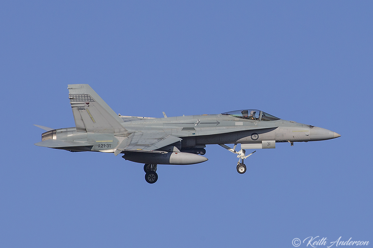 A21-31 McDonnell-Douglas F/A-18A Hornet (MSN 552/AF-31) of 75 Squadron, RAAF at RAAF Pearce - Mon 6 March 2017.