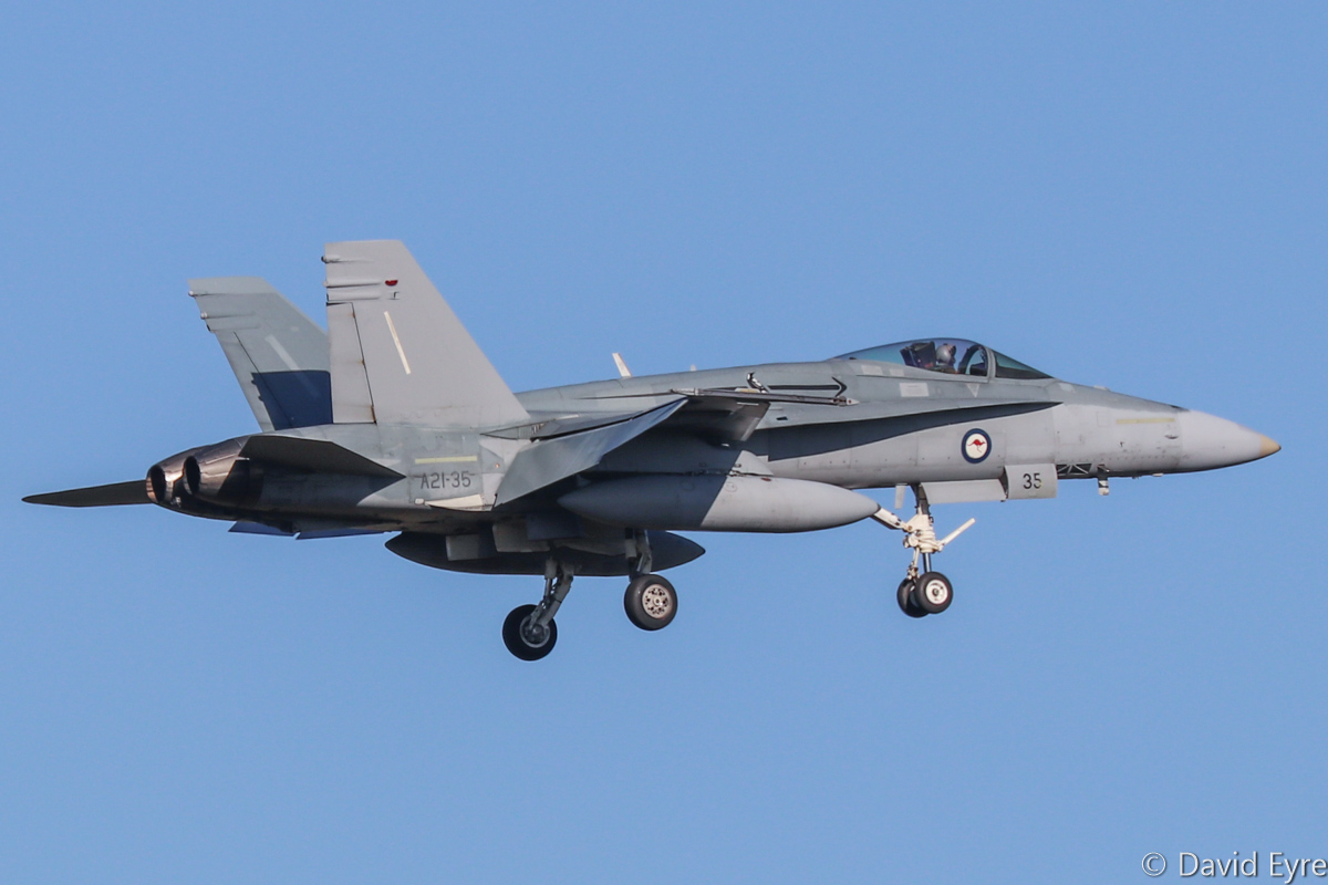 A21-35 McDonnell-Douglas F/A-18A Hornet (MSN 588/AF-35) of 75 Squadron, RAAF at RAAF Pearce - Mon 6 March 2017. Arriving to participate in the international Exercise OCEAN EXPLORER 17. Based at RAAF Tindal, Northern Territory. A21-35 was originally delivered on 31 July 1988. Photo © David Eyre