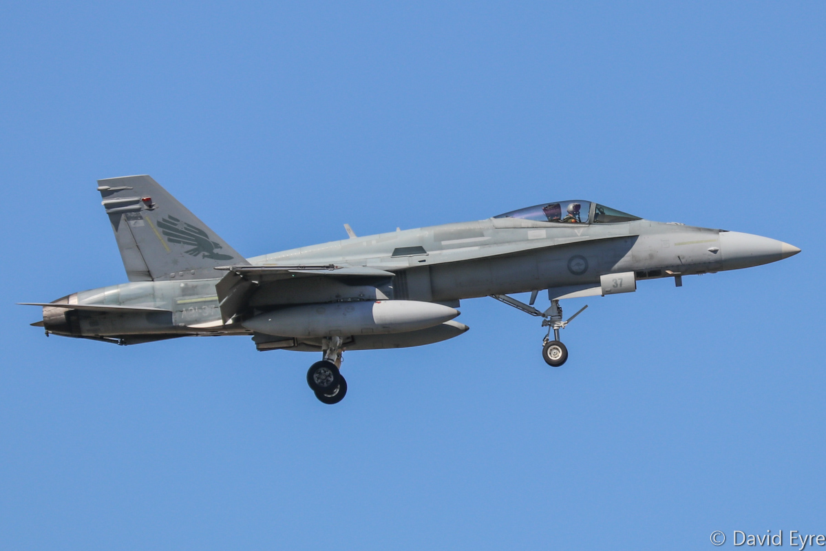 A21-37 McDonnell-Douglas F/A-18A Hornet (MSN 640/AF-37) of 75 Squadron, in 3 Squadron markings, at RAAF Pearce - Mon 6 March 2017. Arriving to participate in the international Exercise OCEAN EXPLORER 17. Based at RAAF Tindal, Northern Territory. Originally delivered 27 October 1988. Photo © David Eyre