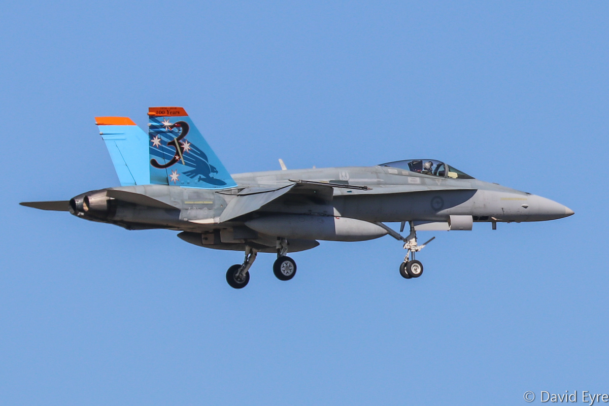 A21-3 McDonnell-Douglas F/A-18A Hornet (MSN 250/AF-03) in special 3 Squadron markings '1916-2016: 100 Years', actually allocated to 75 Squadron, at RAAF Pearce - Mon 6 March 2017. Originally delivered 27 March 1986. Arriving to participate in the international Exercise OCEAN EXPLORER 17. Photo © David Eyre