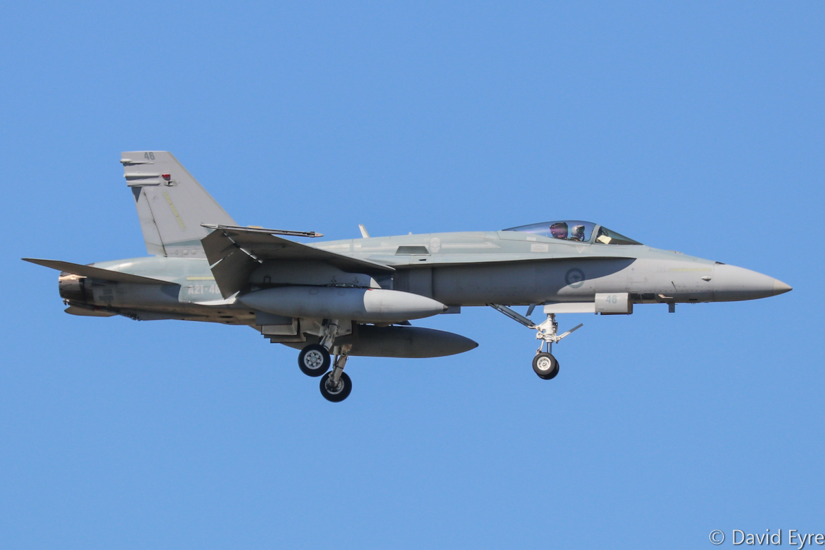 A21-46 McDonnell-Douglas F/A-18A Hornet (MSN 729/AF-46) of 75 Squadron, in 77 Squadron markings, at RAAF Pearce - Mon 6 March 2017. Arriving to participate in the international Exercise OCEAN EXPLORER 17. Based at RAAF Tindal, Northern Territory. Originally delivered 28 June 1989. Photo © David Eyre