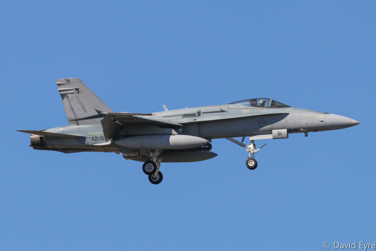 A21-51 McDonnell-Douglas F/A-18A Hornet (MSN 773/AF-51) in 77 Squadron markings. actually allocated to 75 Squadron, at RAAF Pearce - Mon 6 March 2017. Arriving to participate in the international Exercise OCEAN EXPLORER 17. Originally delivered 31 October 1989. Photo © David Eyre