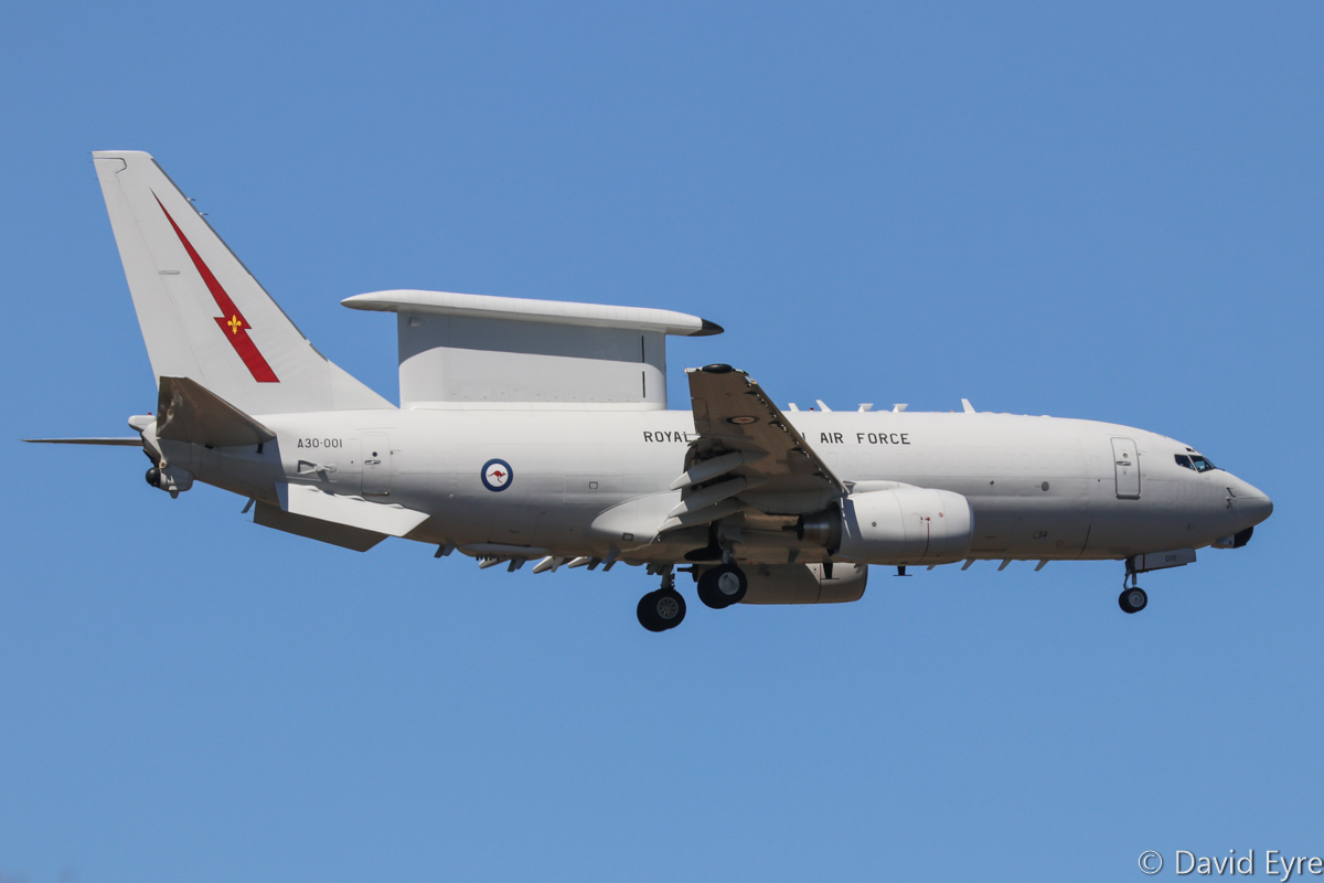 A30-001 Boeing E-7A (737-7ES) Wedgetail (MSN 33474/1245) of 2 Squadron, RAAF, at RAAF Pearce – Mon 6 March 2017. 'MITCHELL 01' arriving to participate in the international Exercise OCEAN EXPLORER 17. Photo © David Eyre