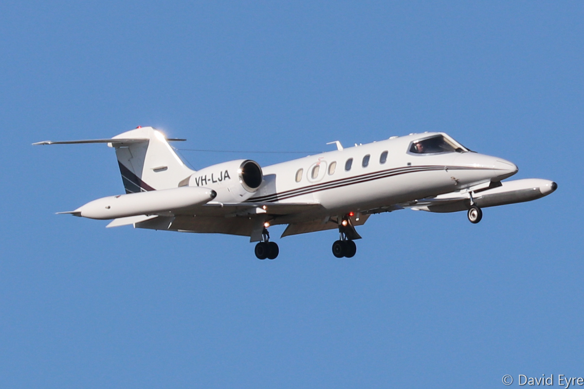 VH-LJA Learjet 35A (MSN 35A-649) of Air Affairs (Australia) Pty Ltd at RAAF Pearce - Mon 6 March 2017. Arriving back at Pearce after a target simulation mission off the WA coast, in support of Exercise OCEAN EXPLORER 17. The aircraft are based at Naval Air Station Nowra, NSW and are used for target towing and simulating attacking aircraft. Built in 1988, ex ZK-XVL, N35QB, HB-VJJ, N10870. Photo © David Eyre