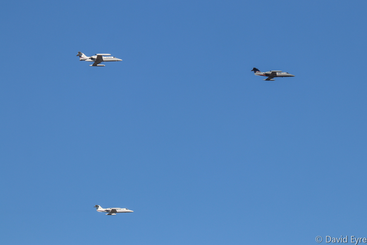 (Left to right): Learjet 35A aircraft of Air Affairs (Australia) Pty Ltd: VH-LJA (MSN 35A-649); VH-OVB (MSN 35A-400); VH-SLD (MSN 35-145), at RAAF Pearce - Mon 6 March 2017. A rare formation of Learjets arriving back at Pearce after a target simulation mission off the WA coast, in support of Exercise OCEAN EXPLORER 17. The aircraft are based at Naval Air Station Nowra, NSW and are used for target towing and simulating attacking aircraft. VH-LJA built in 1988, ex ZK-XVL, N35QB, HB-VJJ, N10870. VH-OVB built in 1981, ex VH-RHQ, VH-JIG, VH-TPR, VH-CPQ, VH-CPH. VH-SLD built in 1977, ex N145GJ, T-782 (Swiss Air Force), HB-VFB, N39394. Photo © David Eyre