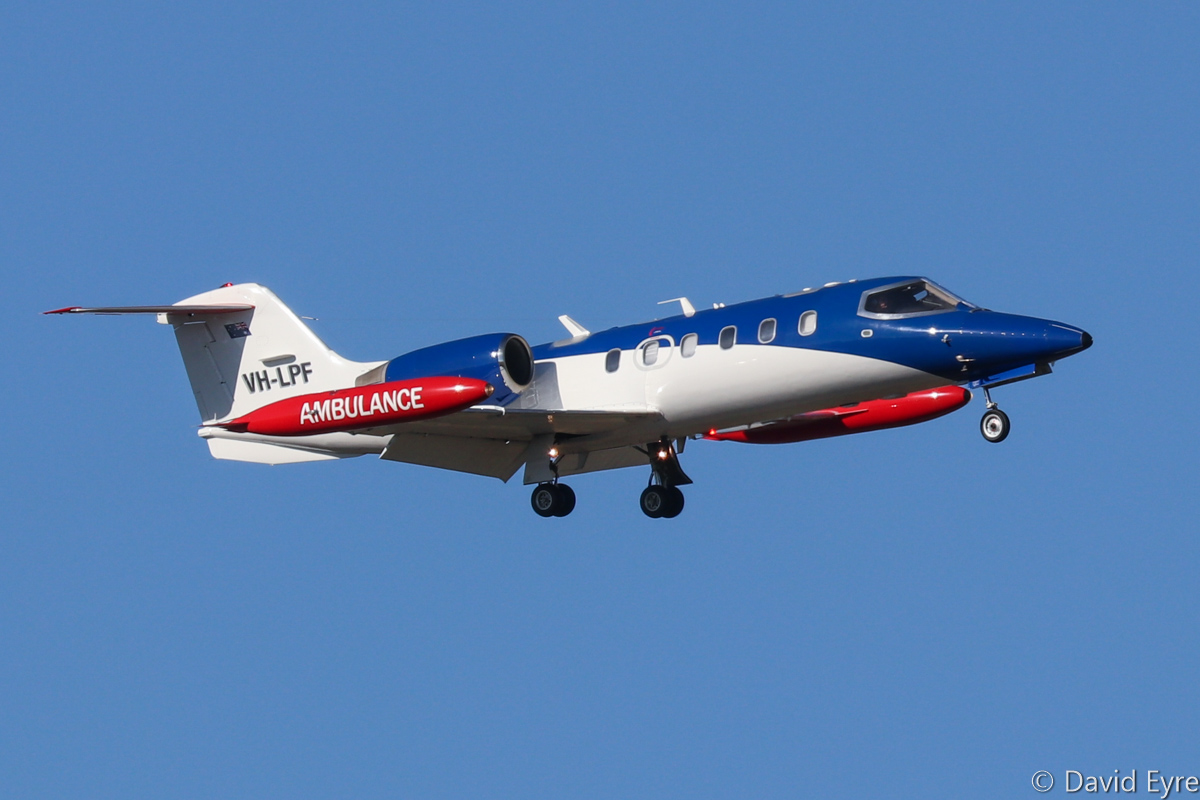 VH-LPF Learjet 35A (MSN 35A-653) of Air Affairs (Australia) Pty Ltd, at RAAF Pearce - Mon 6 March 2017. Arriving back at Pearce after a target simulation mission off the WA coast, in support of Exercise OCEAN EXPLORER 17. The aircraft are based at Naval Air Station Nowra, NSW and are used for target towing and simulating attacking aircraft. Built in 1989, ex LX-LAR, HB-VJL. Photo © David Eyre