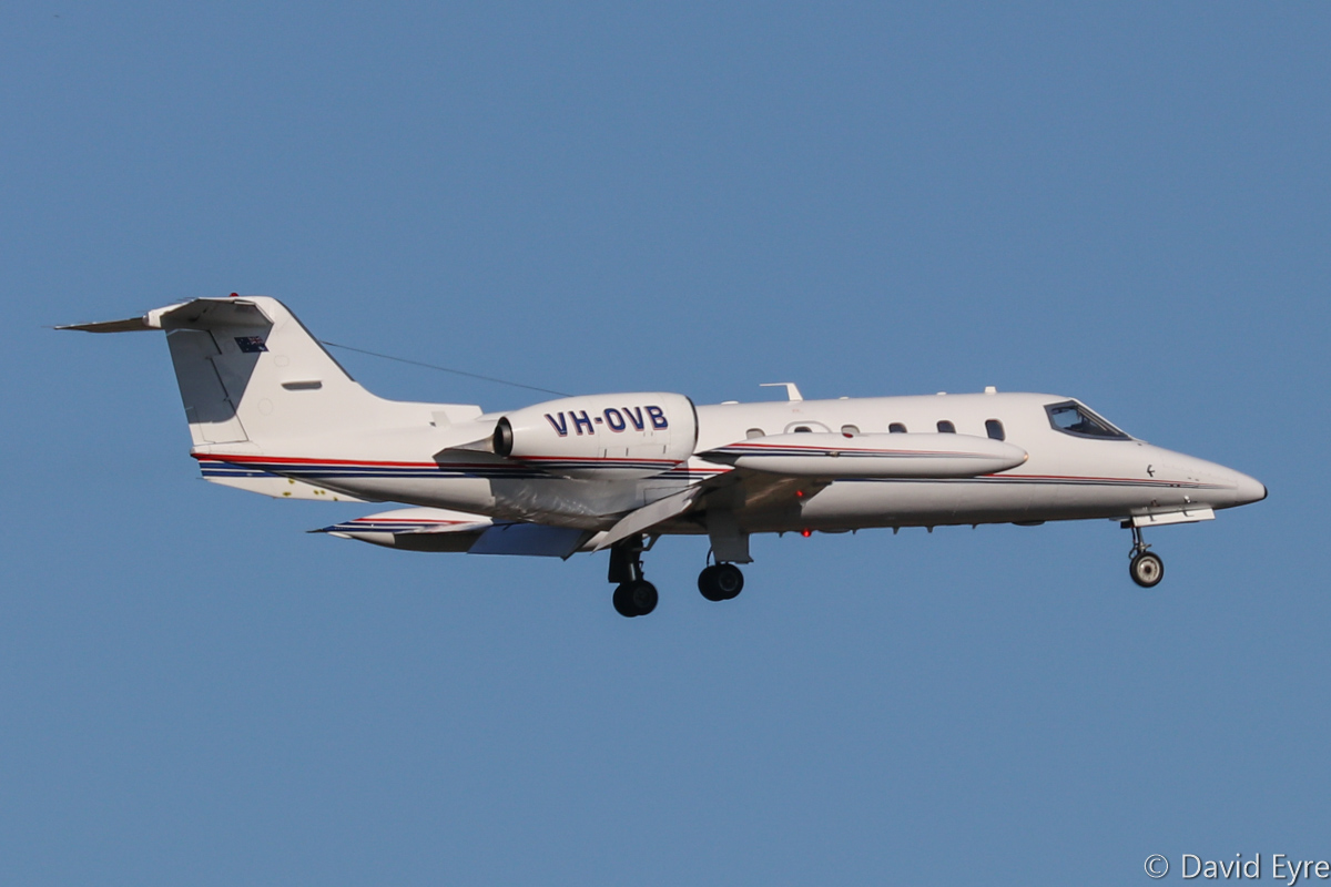 VH-OVB Learjet 35A (MSN 35A-400) of Air Affairs (Australia) Pty Ltd, at RAAF Pearce - Mon 6 March 2017. Arriving back at Pearce after a target simulation mission off the WA coast, in support of Exercise OCEAN EXPLORER 17. The aircraft are based at Naval Air Station Nowra, NSW and are used for target towing and simulating attacking aircraft. Built in 1981, ex VH-RHQ, VH-JIG, VH-TPR, VH-CPQ, VH-CPH. Photo © David Eyre