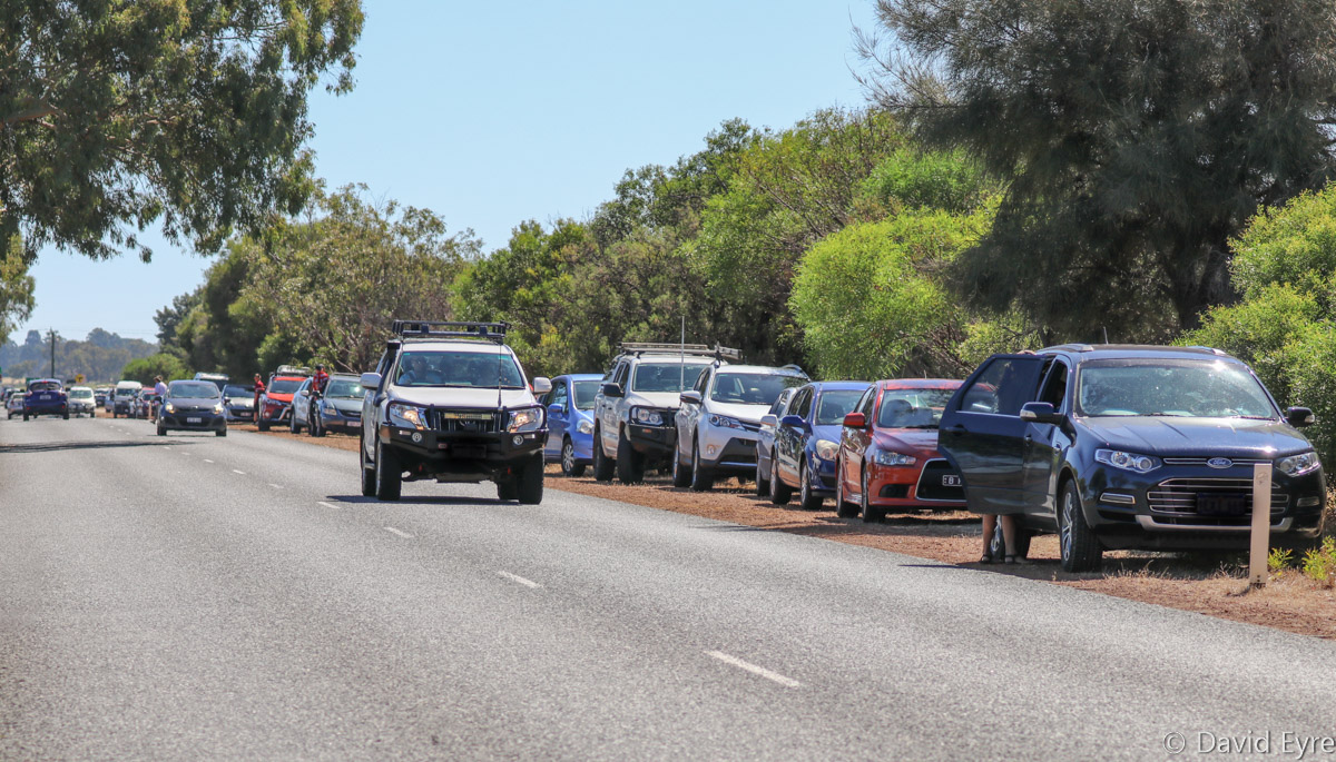 Cars parked along the road near RAAF Pearce - Mon 6 March 2017. The RAAF publicised the Hornets' scheduled arrival time, to warn about the noise, attracting much interest from local residents, aircraft enthusiasts and people passing by. Photo © David Eyre
