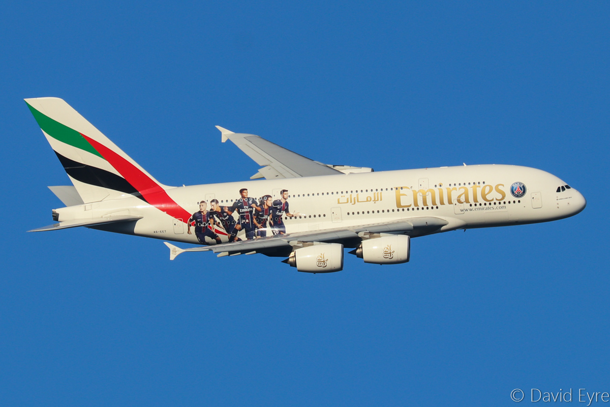 A6-EET Airbus A380-861 (MSN 142) of Emirates, with special Paris Saint Germain Football Club decals, over the northern suburbs of Perth - Thu 9 March 2017. On its first visit to Perth since having these decals applied. Flight EK420 from Dubai, turning onto the approach to Perth Airport's runway 21 at 5:59pm. Photo © David Eyre