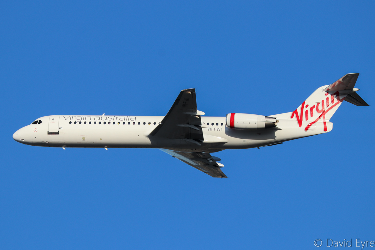 VH-FWI Fokker 100 (MSN 11318) of Virgin Australia Regional Airlines, at Perth Airport - Fri 10 March 2017. Climbing after take-off from runway 21 at 7:18am as VA1849 to Kalgoorlie. Photo © David Eyre