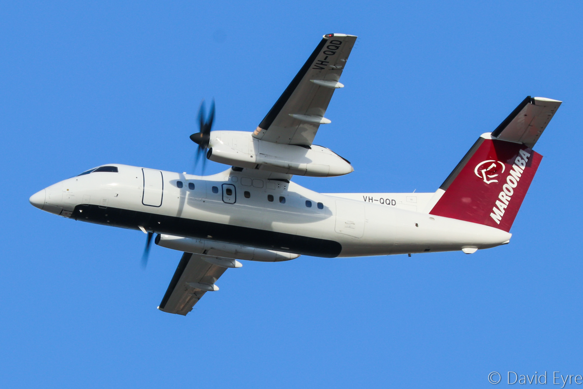 VH-QQD De Havilland Canada DHC-8-102 Dash 8 (MSN 245) of Maroomba Airlines at Perth Airport – Fri 10 March 2017. Climbing after take-off from runway 21 at 7:24am on a FIFO flight to Golden Grove mine. Photo © David Eyre