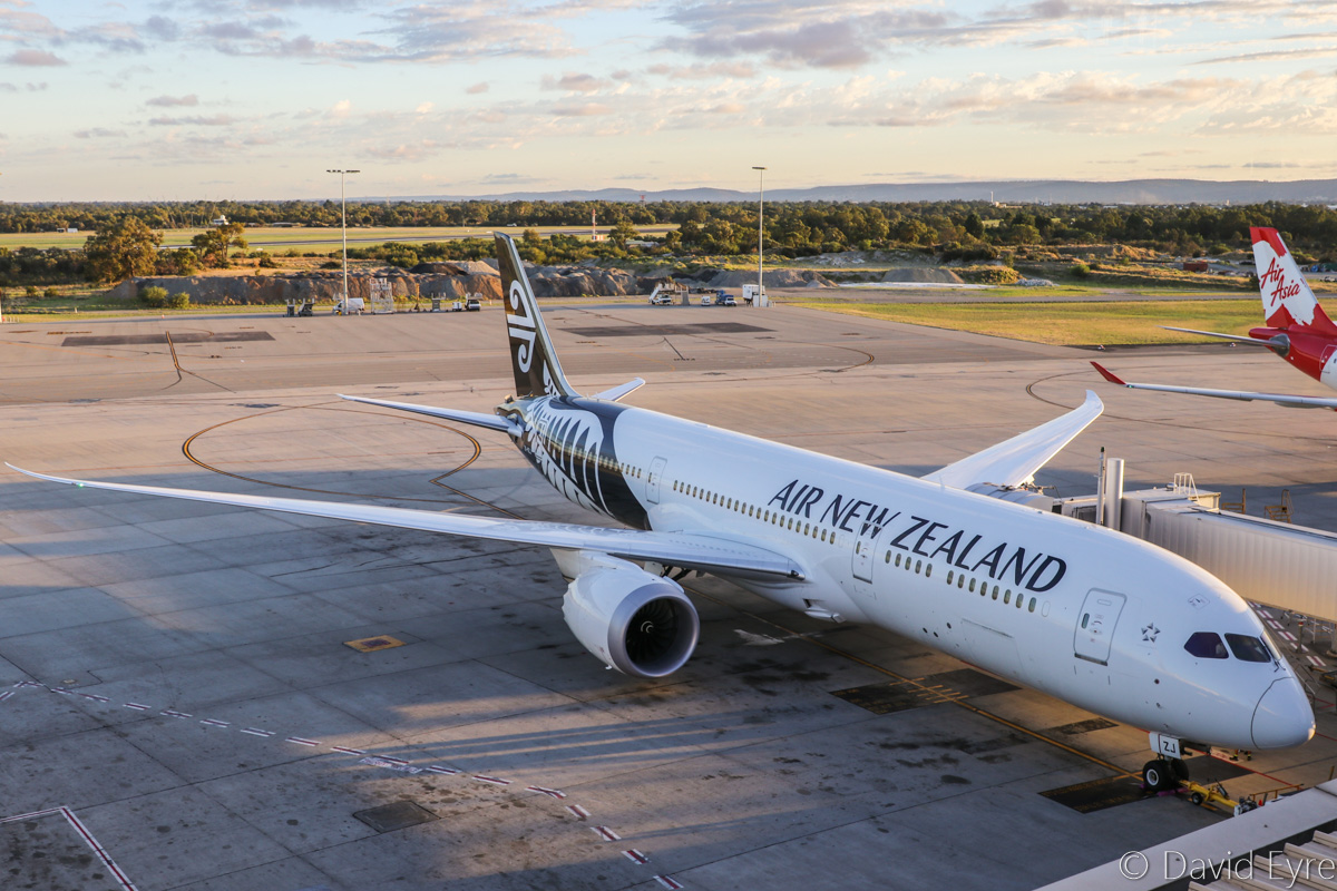 ZK-NZJ Boeing 787-9 Dreamliner (MSN 37966/468) of Air New Zealand, at Perth Airport - Fri 10 March 2017. Flight NZ178 to Auckland, parked at Bay 154 at 6:38am, prior to departure. Photo © David Eyre