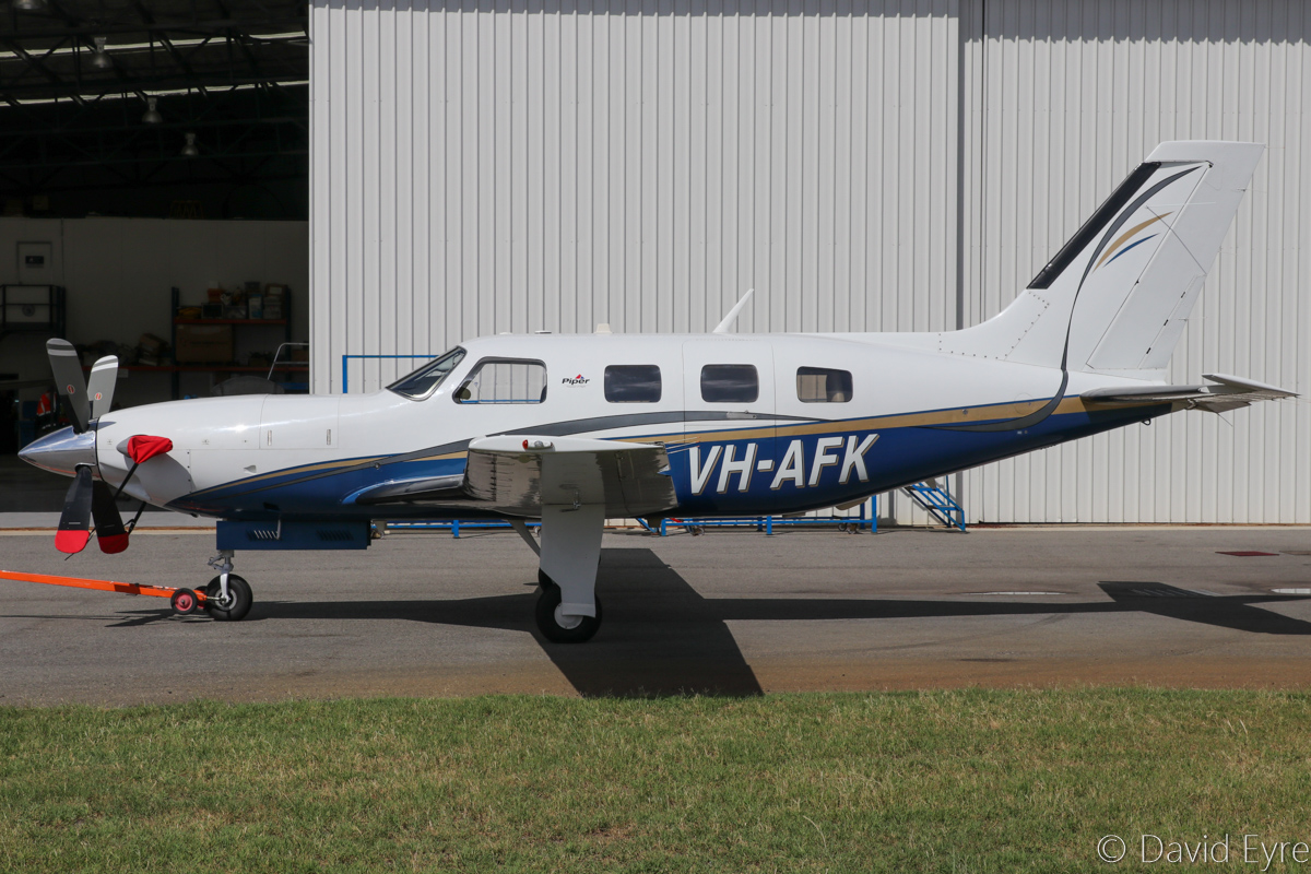 VH-AFK Piper PA-46-500TP Malibu Meridian (MSN 4697190) owned by Alex Karatamoglou of South Bunbury, WA, at Jandakot Airport - Fri 17 March 2017. Built in 2004, this aircraft arrived at Jandakot on 4 January 2017 as N3103A, after being flown across the Pacific Ocean from the USA in late December 2016 - see our photos taken 12 January 2017. The Malibu Meridian is a turboprop powered derivative of the Piper Malibu, using a Pratt & Whitney Canada PT6A-42A of 500hp. Alex previously owned VH-LVG Rockwell Turbo Commander 690B (MSN 11551) and then VH-HPY Gulfstream 695A Jetprop Commander 1000 (MSN 96051). Photo © David Eyre
