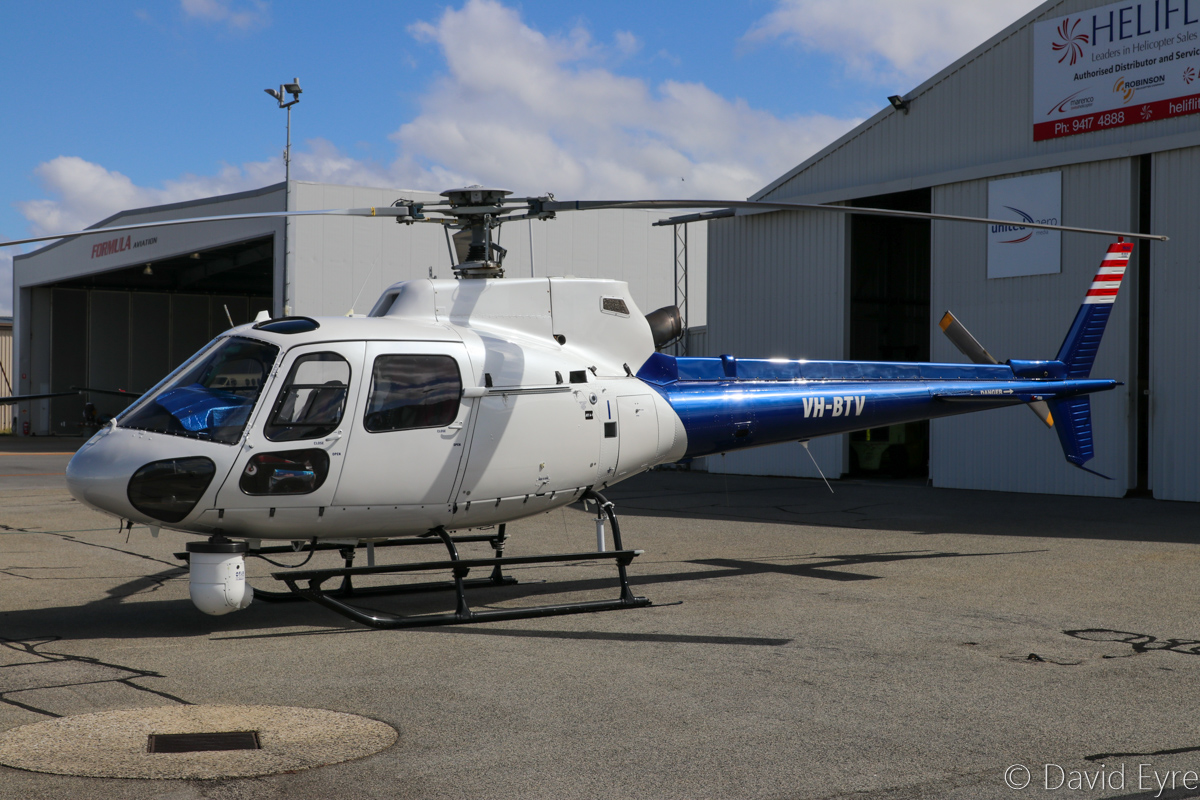 VH-BTV / MEDIA 68 Eurocopter AS350B2 Squirrel (MSN 9038) operated by Aviation Utilities, of Camden, NSW, at Jandakot Airport - Fri 17 March 2017. Shared between Perth's TV Channels 7 and 9 for news gathering. Built in 2001, ex VH-ADV. Photo © David Eyre