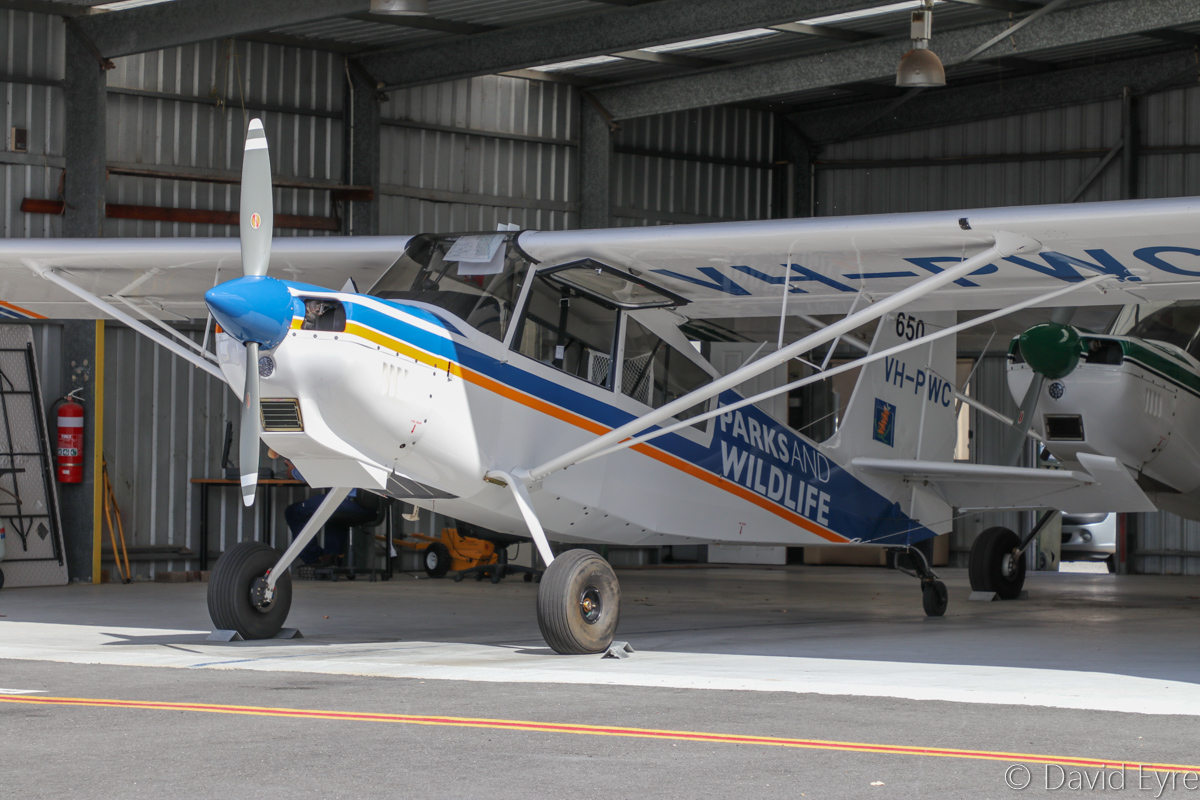 VH-PWC / SPOTTER 650 American Champion 8GCBC Scout (MSN 580-2016) of the Department of Parks and Wildlife, at Jandakot Airport - Fri 17 March 2017. Registered 9 December 2016, a few months prior to this photo. Used in the southwest of Western Australia on forest patrols to spot fires and to supervise water bombing operations. Photo © David Eyre